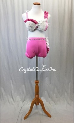 Pink, White Bra-top and Pink Trunk - Swarovski Rhinestones - Size AS