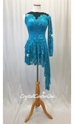 Teal Blue Open Net Lace One-sleeved Dress with Separate Trunk - Swarovski Rhinestones - Size AS