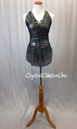 Black Sheer Mesh and Silver Holographic Dress with Black Trunk - Rhinestones
