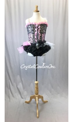 Black/Pink Animal Print Top with Black Trunk/Bustle Skirt - Swarovski Rhinestones - Size AS