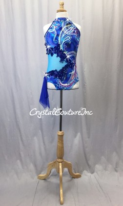 Royal Blue Paisley Print Leotard with Teal Blue Sheer Mesh - Rhinestones - Size - AXS