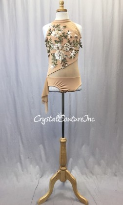Nude Lycra and Sheer Mesh with Floral Appliques - Rhinestones