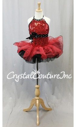 Red and Black Sequined Dress with Structured Tulle Skirt - Swarovski Rhinestones