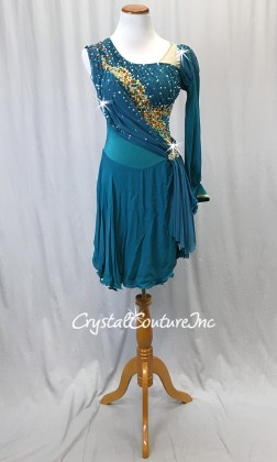 Emerald Green Dress with Silk Skirt & Gold Trim - Swarovski Rhinestones - Size AM