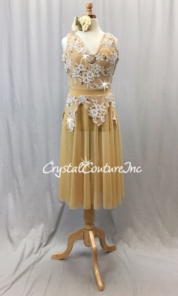 Gold Sheer Mesh Dress with Leotard - Embroidered Appliques - Swarovski Rhinestones - Size AXS