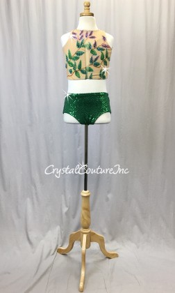 Nude Lycra and Green Zsa Zsa Sequin 2-Piece w/Hand Painted Leaves - Swarovski Rhinestones