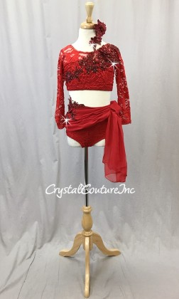 Red Floral Lace Crop Top and Trunk/Chiffon Draped Skirt - Swarovski Rhinestones