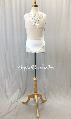 White Sheer Mesh and Lycra Leotard - Appliques - Swarovski Rhinestones - Size AXS