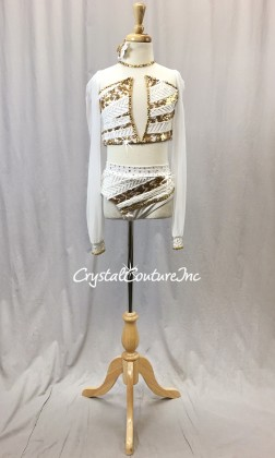 White Lycra/Mesh 2-Piece Crop Top and Trunks with White/Gold Sequin Trim - Swarovski Rhinestones