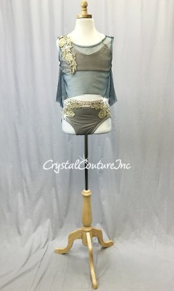 Teal Blue Metallic Mesh with Nude Lycra Bra Top, Briefs and Gold Appliques - Swarovski Rhinestones - Size AXS