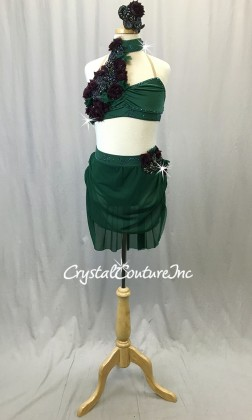 Dark Green Bra-Top and Trunk/Mesh Skirt - Amethyst Beaded Appliques - Swarovski Rhinestones - Size AXS