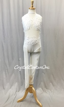 White Sheer Mesh Unitard with Lycra Top & Trunk - Embroidered Appliques - Size YL