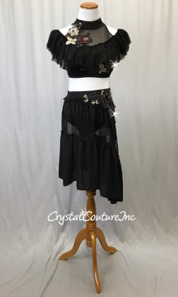 Black Off-The Shoulder Top with Long Chiffon and Mesh Skirt/Trunk Swarovski Rhinestones - Size AL
