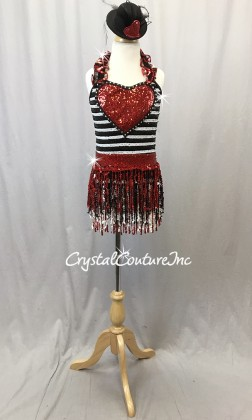 Black and White One Piece with Red Accents and Sequin Fringe Skirt - Swarovski Rhinestones - Size YM