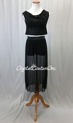 Black Sheer Mesh Top, Bra-Top and Long Mesh Skirt/Trunk - Size AS