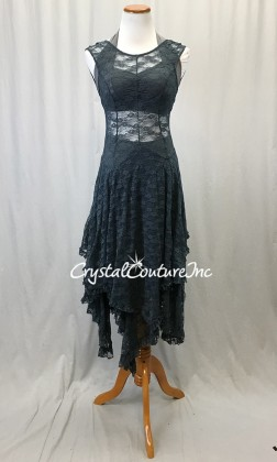 Dusty Blue and Gray Floral Mesh Dress with Gray Halter Top and Boy-Cut Shorts - Size AM