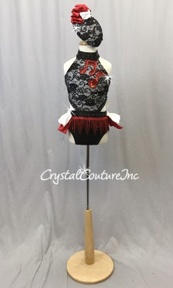 Black and White Connected 2 Piece with Red Accents - Swarovski Rhinestones - Size YS