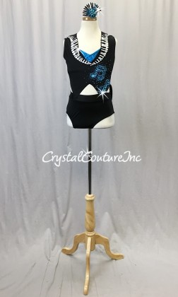 Black/White Tuxedo Inspired Connected 2 Piece with Turquoise Accents - Swarovski Rhinestones - Size AXS