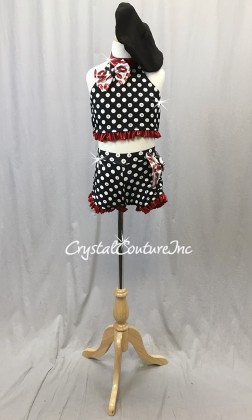 Black and White Polka Dot Crop Top & Trunks with Red Accents - Swarovski Rhinestones