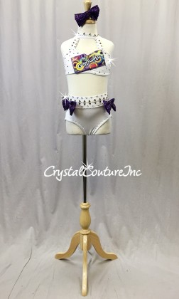 White Lycra Halter Top and Briefs with Vibrant Purple Accents - Rhinestones - Size YM