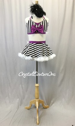 Black & White Stripe Top and Full Skirt with Purple Accents - Swarovski Rhinestones - Size YL