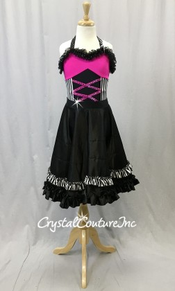 Black and Hot Pink Leotard and Full Can-Can skirt - Swarovski Rhinestones