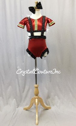 Fireman Inspired Red and Black Connected Top and Trunk - Swarovski Rhinestones - Size YM