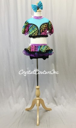 Vibrant Animal Print Short Sleeve Top and Skirt/Booty Shorts - Swarovski Rhinestones