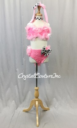 Pink Poodle-Faux Fur and Chiffon 2-Piece Bra Top and Trunks w/Bustle - Swarovski Rhinestones