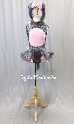 Mouse Inspired Grey and Pink Zsa Zsa Sequin Dress w/Grey Feather Accents - Swarovski Rhinestones
