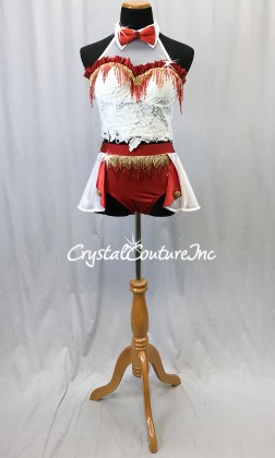 White/Red/Gold 2-Piece Corset Top and Trunks w/Half Skirt - Swarovski Rhinestones