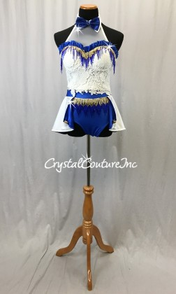 White/Blue/Gold 2-Piece Corset Top and Trunks w/Half Skirt - Swarovski Rhinestones - Size AM