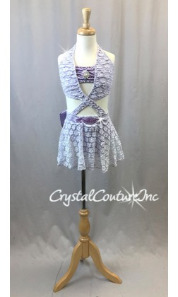 Lilac Purple Lace Halter Top and Trunks with Skirt - Swarovski Rhinestones - Size YM