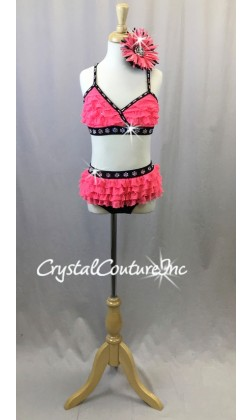 Hot Pink and Black and Pink 2pc with Ruffles - Swarovski Rhinestones - Size YM
