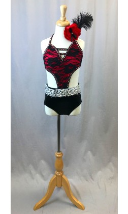 Red and Black Lace Paris Leotard - Swarovski Rhinestones - Size YM