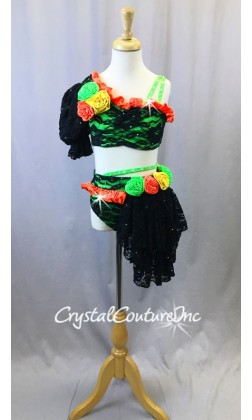 Black Lace and Bright Green 2pc with Flowers and Side Skirt - Swarovski Rhinestones - Size YM