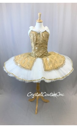 Gold Satin & Lace With White Custom Platter Tutu  - Swarovski - Size AXS