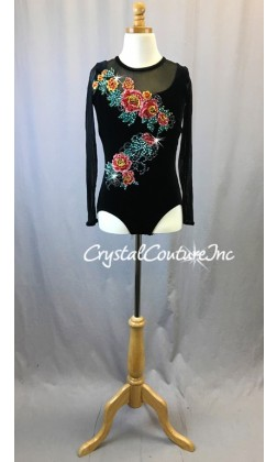 Black Velour and Sheer Mesh Long Sleeve Leotard with Appliques - Swarovski Rhinestones - Size AXS
