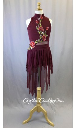 Burgundy High Neck Bike-a-tard with Sheer Skirt and Appliques - Swarovski Rhinestones - Size AXS