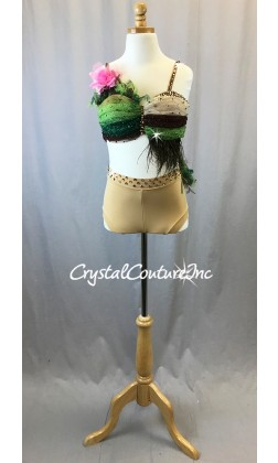 Nude, Brown and Green Tulle Bra-Top with Trunks - Swarovski Rhinestones