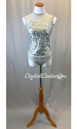 Silver Matte Sequin Leotard with Beaded Fringe -Swarovski Rhinestones - Size AS