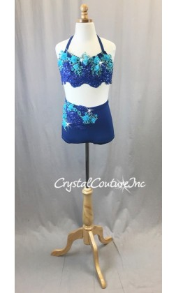 Blue Halter Top and Trunks with Embroidered Appliques - Swarovski Rhinestones - Size AXS