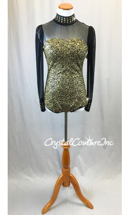 Black Long Sleeve Leotard with Gold Zsa-zsa Sequins and Metallic Studs - Swarovski Rhinestones