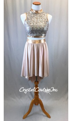 Vintage Pink Shimmery Lycra and Zsa-Zsa Top with Long Skirt/Shorts - Swarovski Rhinestones - Size AS
