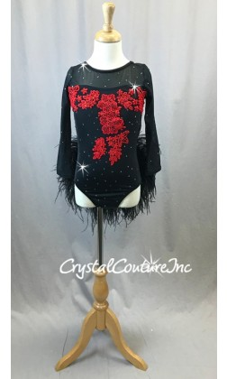 Black Long Sleeve Leotard with Red Appliques and Feather Skirt - Swarovski Rhinestones