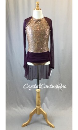 Gold Zsa-zsa and Purple Mesh Long Sleeve Leotard - Swarovski Rhinestones