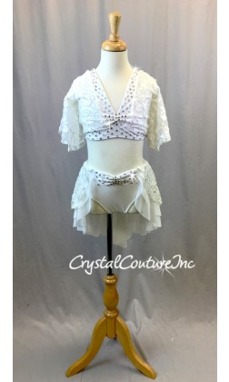 White Velour Burn-out Lace Top with Skirt/Trunks - Swarovski Rhinestones - Size YM