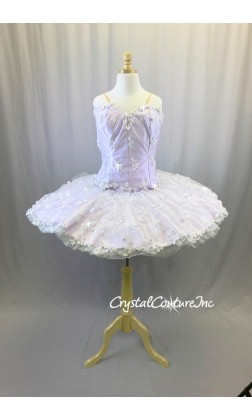 Lilac Satin Platter Tutu Covered in Embroidered Sheer White Floral Mesh -Swarovski Rhinestones