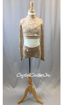 Nude Floral Lace Long Sleeve Top with Trunks - Swarovski Rhinestones - Size YL