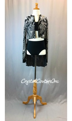Black and Taupe Velour Burnout Shirt with Black Bra-Top and Briefs - Swarovski Rhinestones - Size AS
